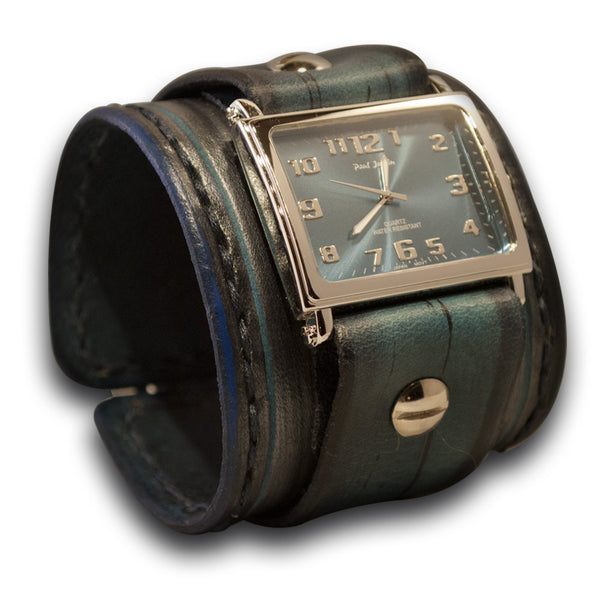Blue Leather Cuff Watch with Black Hand Stitching