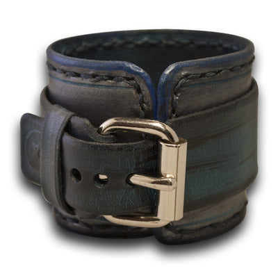 Blue Leather Cuff Watch with Black Hand Stitching-Leather Cuff Watches-Rockstar Leatherworks™