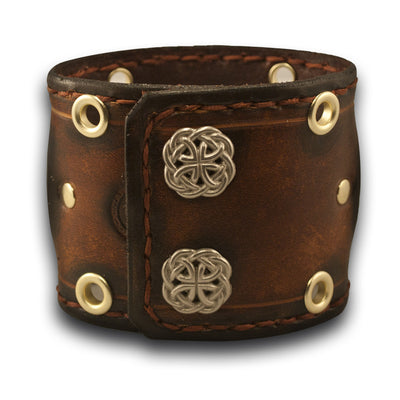 Brown Leather Cuff Watch with Eyelets, Etching & Celtic Snaps