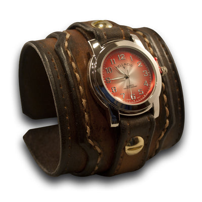 Brown Stressed Drake Leather Cuff Watch with Beige Stitching-Leather Cuff Watches-Rockstar Leatherworks™