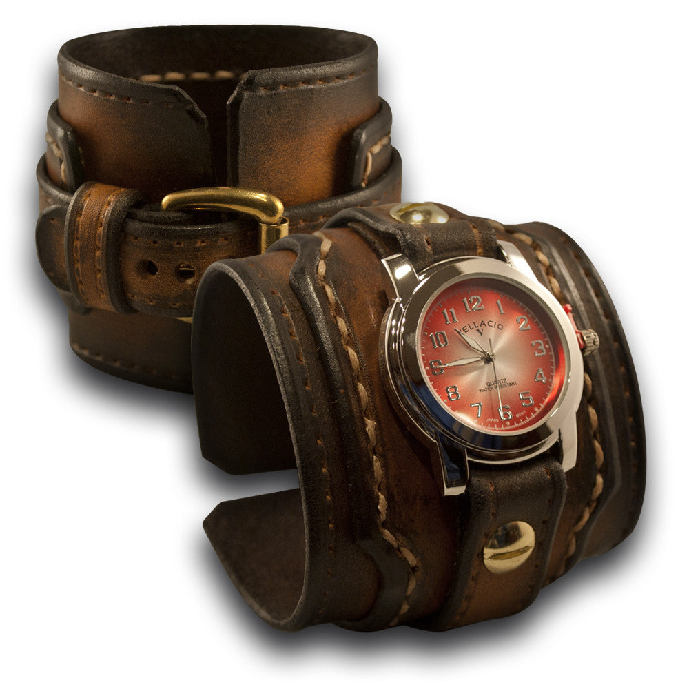 Brown Stressed Drake Leather Cuff Watch with Beige Stitching