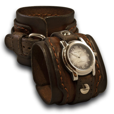 Timber & Bison Brown Layered Leather Cuff Watch with Stitching-Leather Cuff Watches-Rockstar Leatherworks™