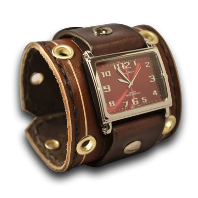 Brown Wide Leather Cuff Watch with Stitching, Brass Eyelets & Etching