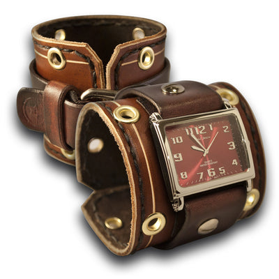 Brown Wide Leather Cuff Watch with Stitching, Eyelets & Etching-Leather Cuff Watches-Rockstar Leatherworks™
