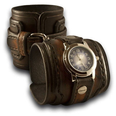 Brown Stressed Drake Leather Cuff Watch Layered and Stitched-Leather Cuff Watches-Rockstar Leatherworks™