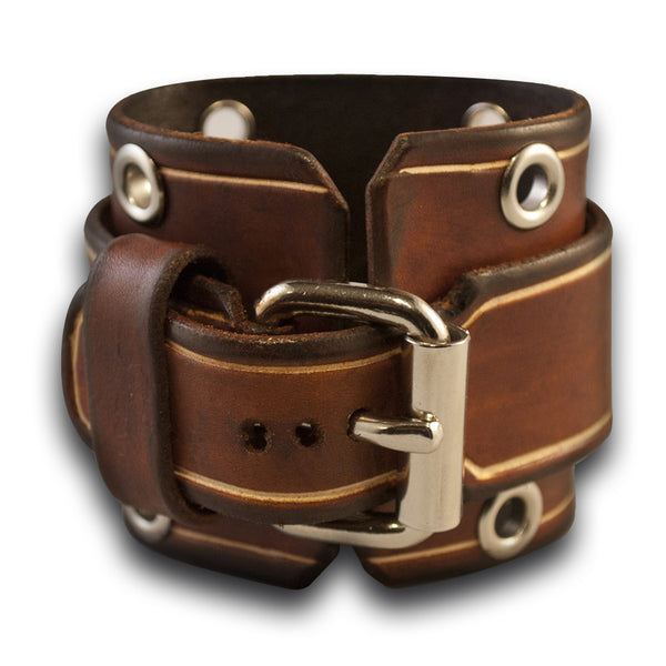 Brown Stressed Leather Cuff Watch with Stainless Eyelets & Etching