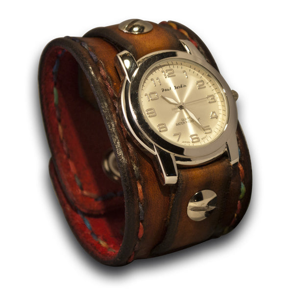 Brown Leather Cuff Watch with Celtic Snap & Multi-Color Stitching