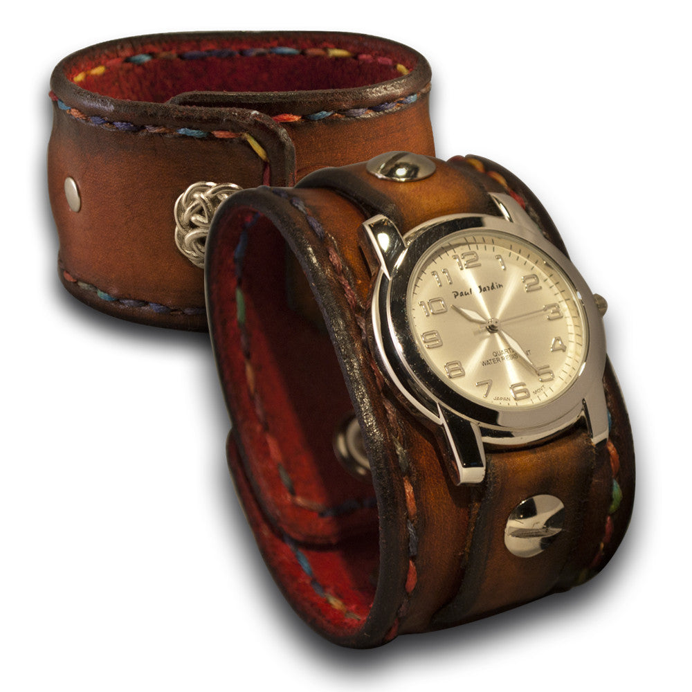 Brown Leather Cuff Watch w/ Celtic Snap & Multi-Color Stitching