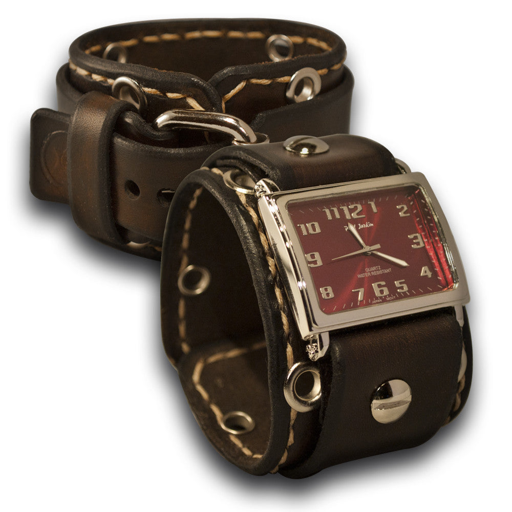 Dark Brown Leather Cuff Watch with Beige Stitching