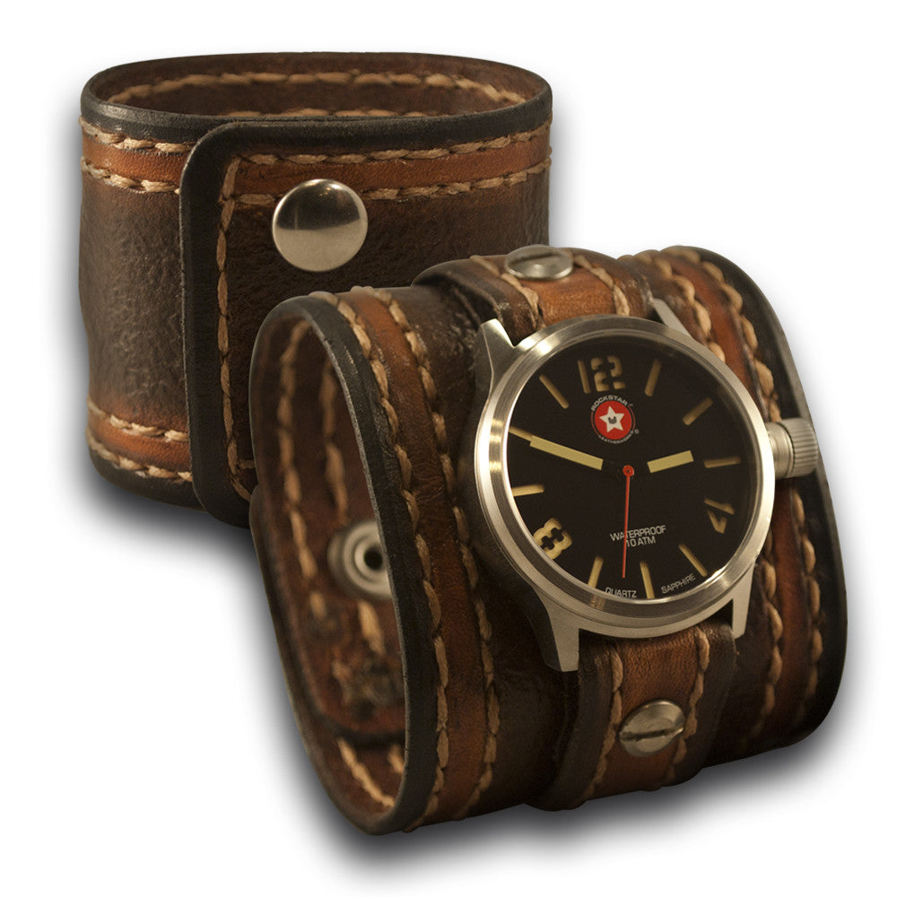 Brown Leather Cuff Watch - 42MM Stainless Sapphire-Leather Cuff Watches-Rockstar Leatherworks™