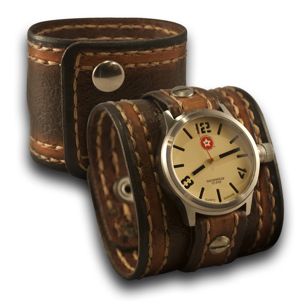Brown Leather Cuff Watch - 42mm Stainless, Sapphire, 10ATM-Leather Cuff Watches-Rockstar Leatherworks™