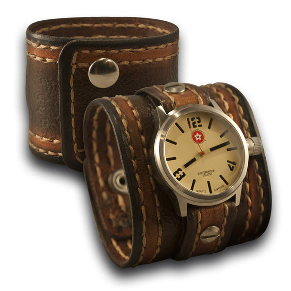 Brown Leather Rockstar Cuff Watch - 42mm Stainless, Sapphire, 10ATM