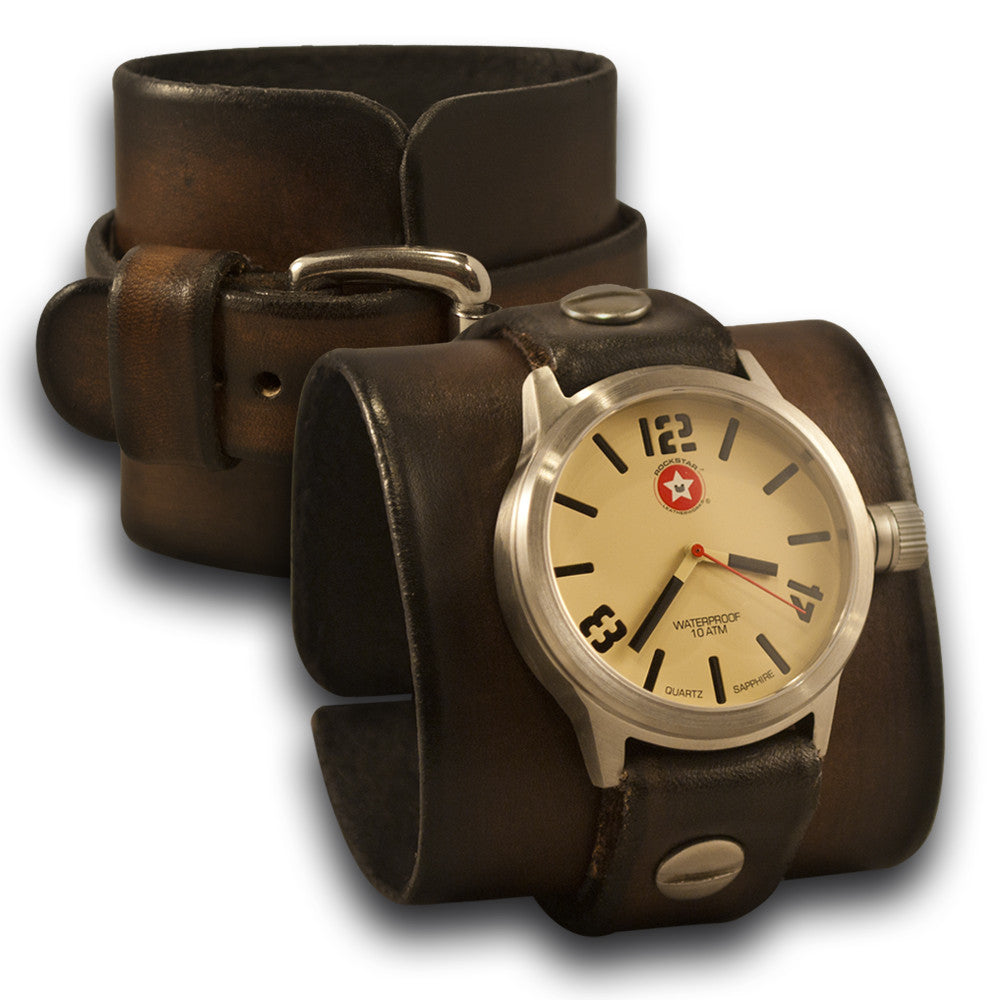 Brown Stressed Rockstar Leather Cuff Watch - Stainless, Sapphire-Leather Cuff Watches-Rockstar Leatherworks™