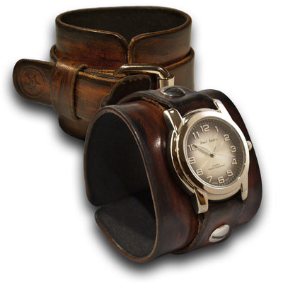 Brown Stressed Leather Cuff Watch with Black & Silver Face-Leather Cuff Watches-Rockstar Leatherworks™