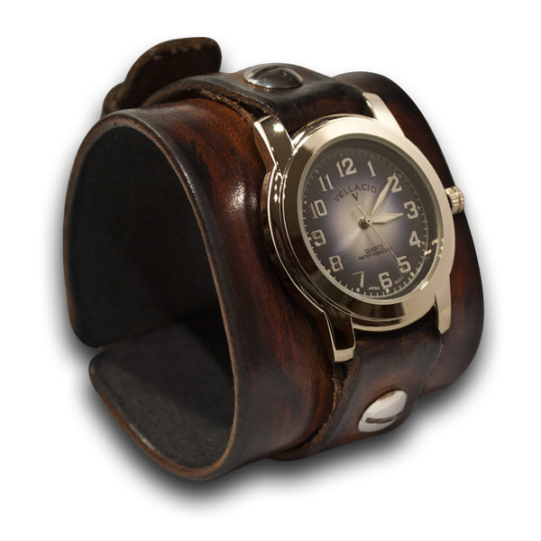 Timber Brown Stressed Leather Cuff Watch with Blue and Silver Face