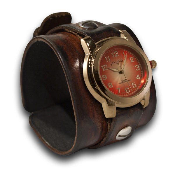 Brown Stressed Wide Leather Cuff Watch with Red and Silver Face