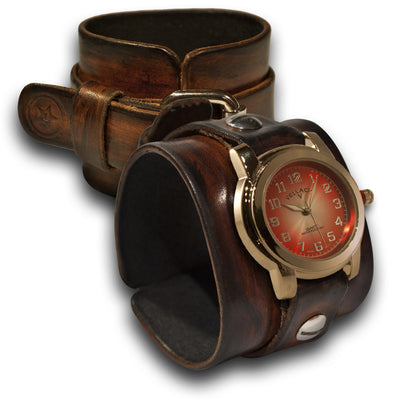 Brown Stressed Wide Leather Cuff Watch with Red and Silver Face-Leather Cuff Watches-Rockstar Leatherworks™