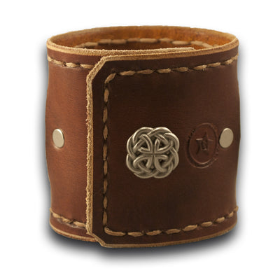 Bordeaux & Tan Leather Cuff Watch with Celtic Snap-Leather Cuff Watches-Rockstar Leatherworks™