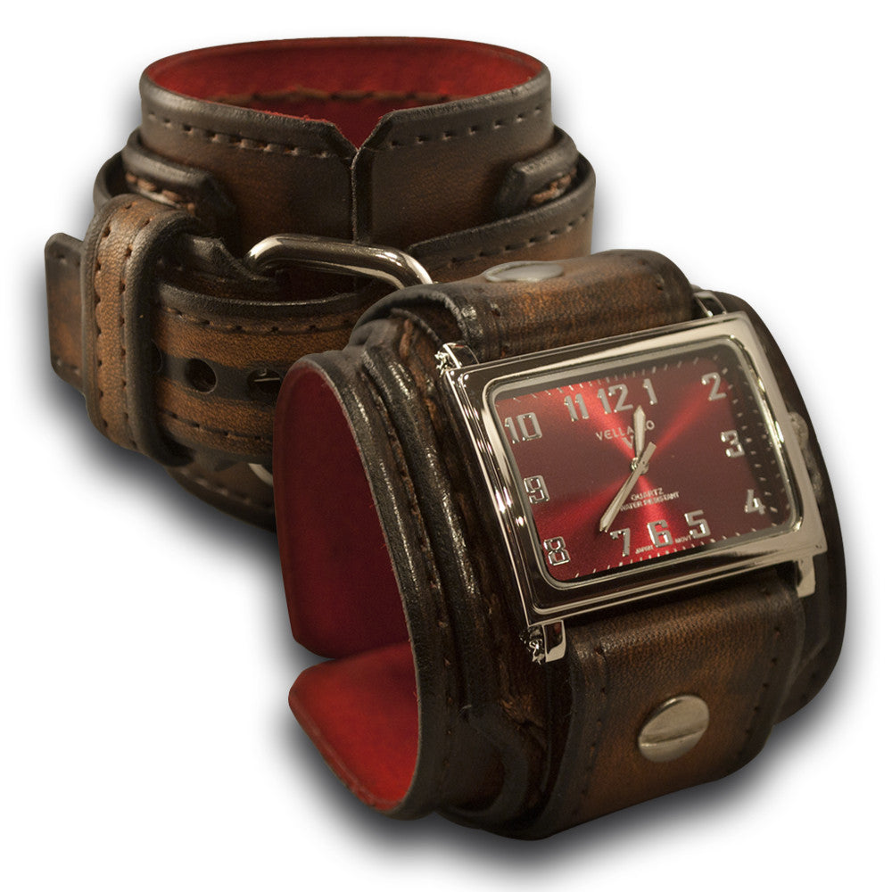 Dark Brown Stressed Drake Leather Cuff Watch with Stitching-Leather Cuff Watches-Rockstar Leatherworks™