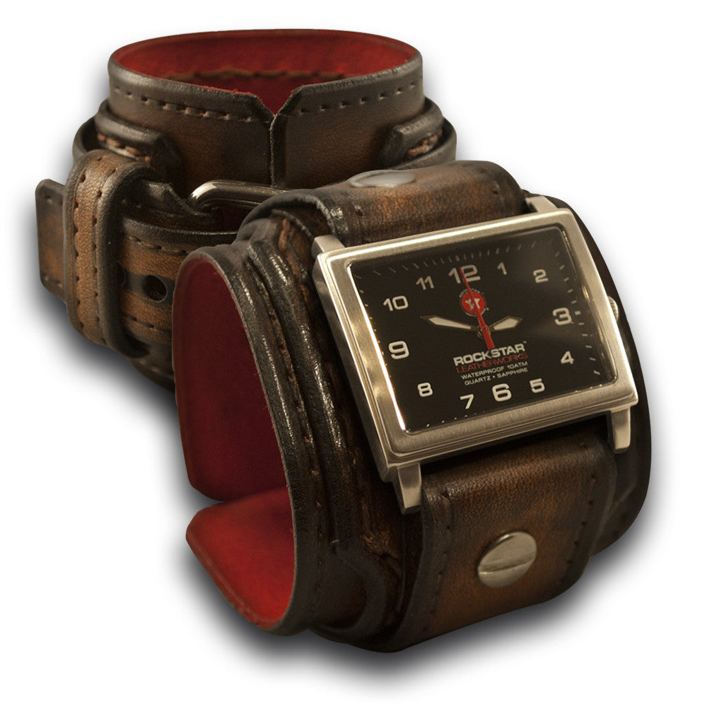 Dark Brown Drake Leather Cuff Watch 42mm Stainless, Sapphire-Leather Cuff Watches-Rockstar Leatherworks™