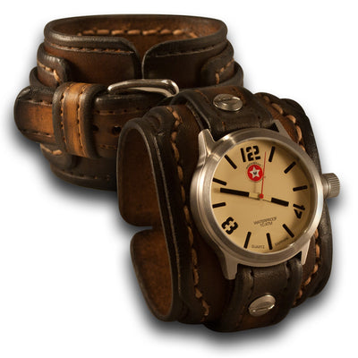 Brown Drake Leather Cuff Watch Stainless 42mm, Sapphire, 10ATM-Leather Cuff Watches-Rockstar Leatherworks™