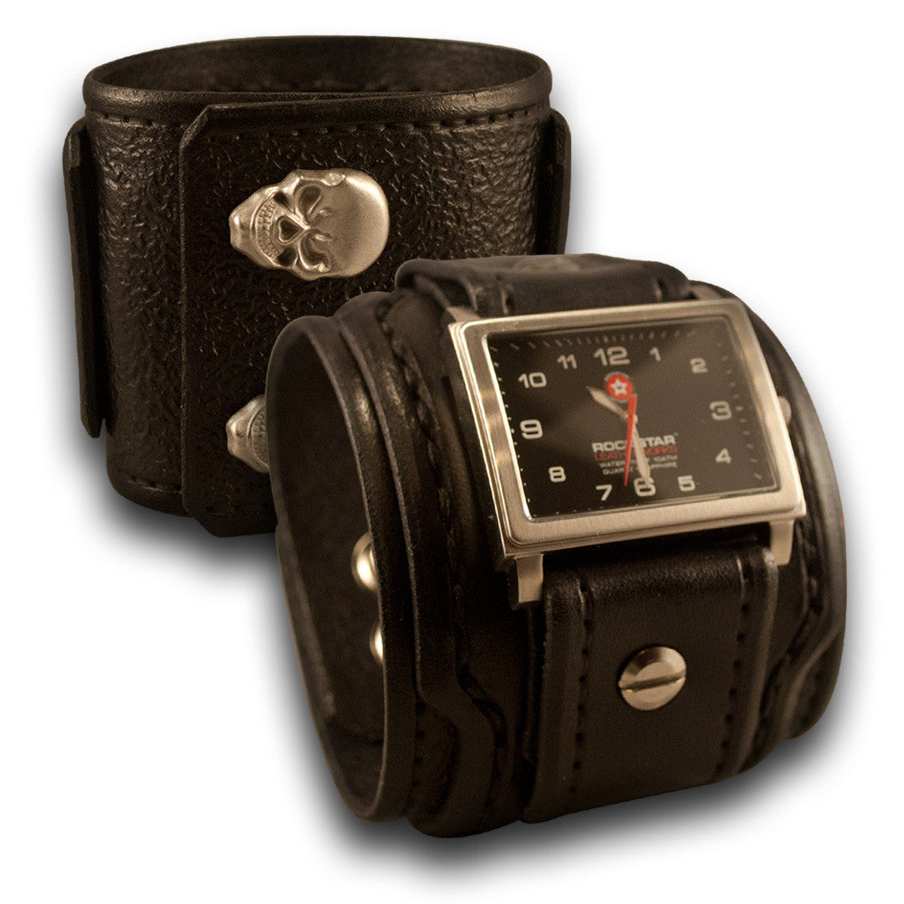 Black Drake Leather Cuff Watch 42mm Stainless with Skull Snaps-Leather Cuff Watches-Rockstar Leatherworks™
