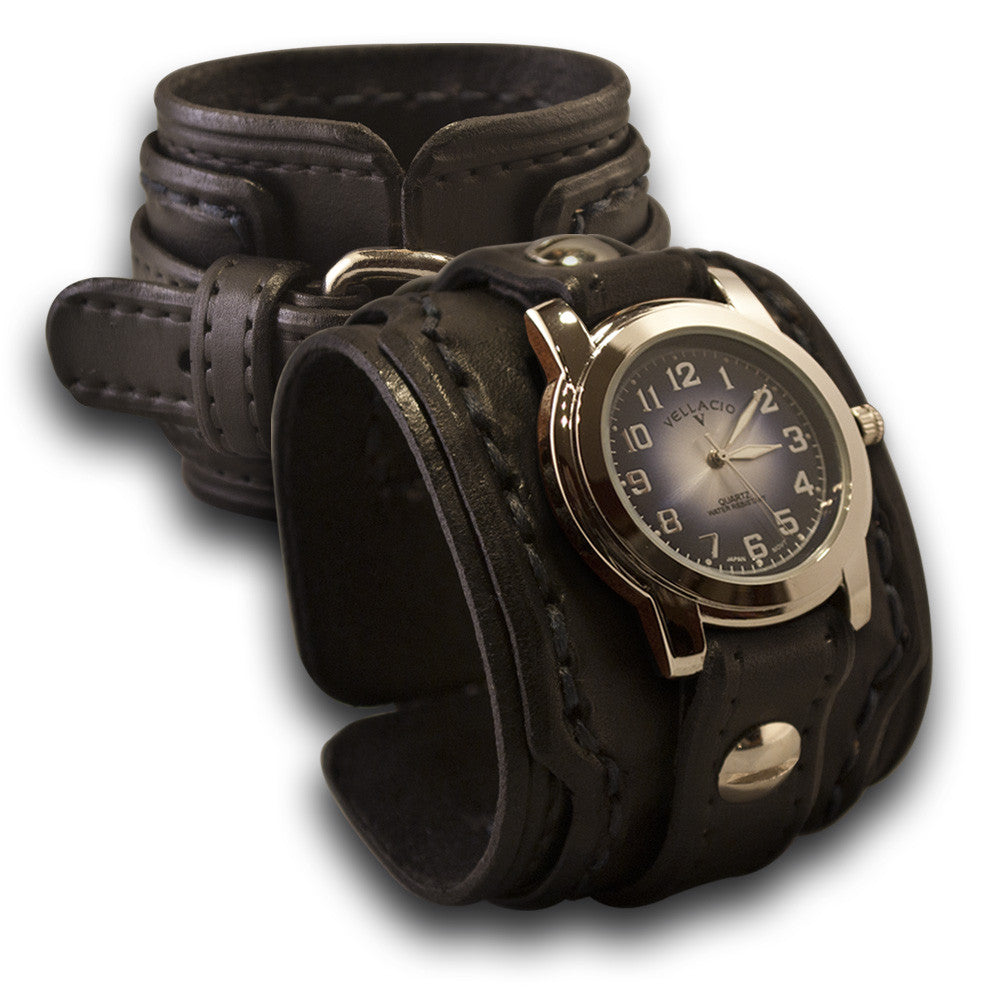 Black Layered Drake Leather Cuff Watch with Blue Stitching