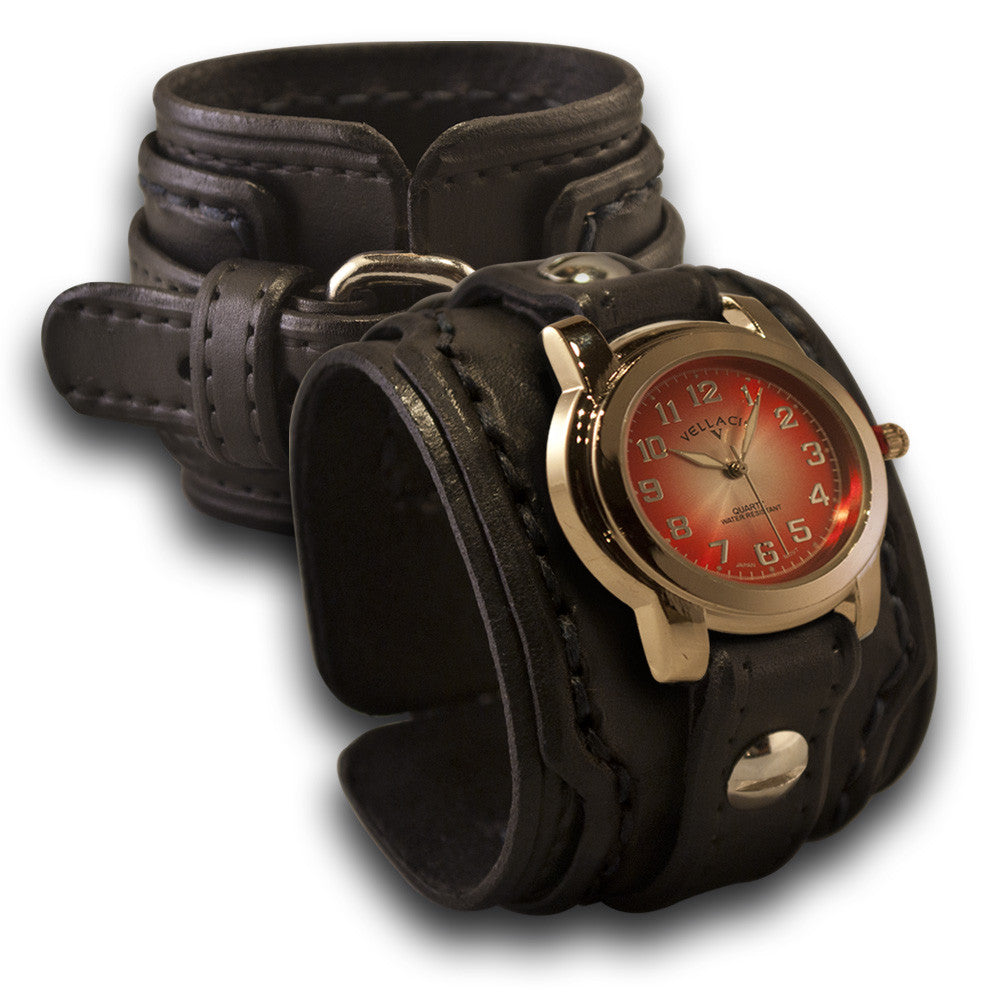 Black Layered Drake Leather Cuff Watch with Stitching & Buckle-Leather Cuff Watches-Rockstar Leatherworks™