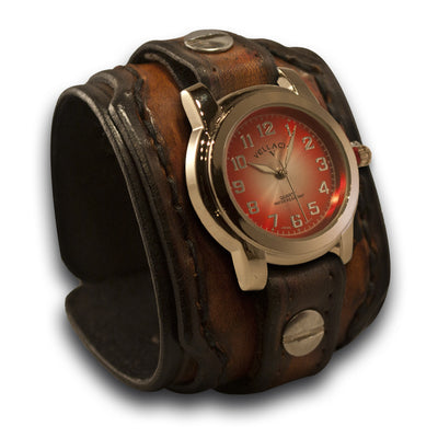 Brown Drake Layered Leather Cuff Watch with Hand Stitched Cuff