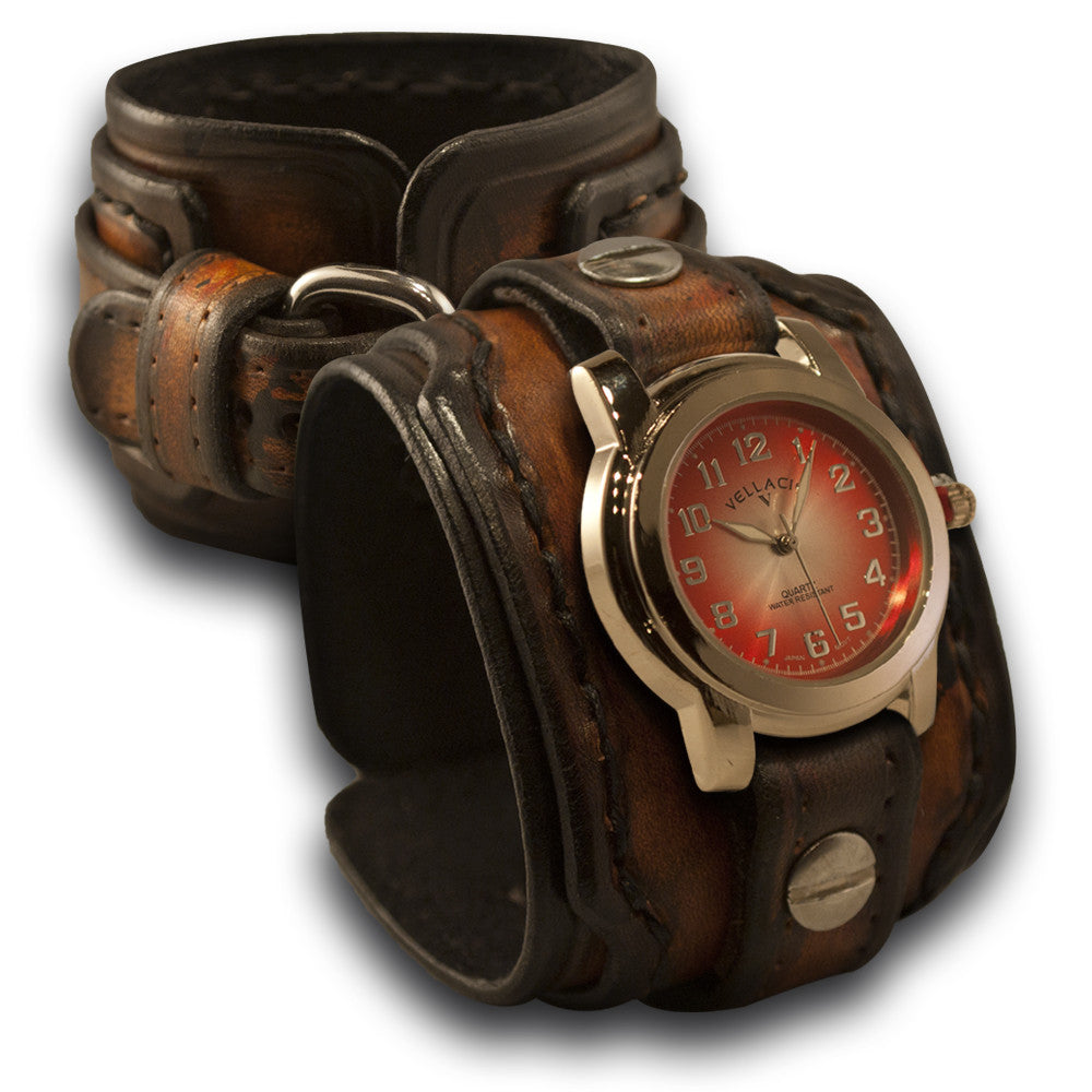 Brown Drake Layered Leather Cuff Watch with Hand Stitched Cuff-Leather Cuff Watches-Rockstar Leatherworks™