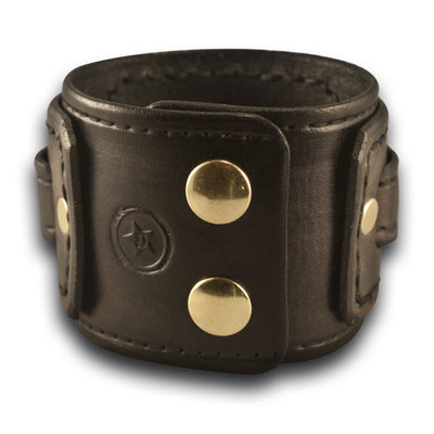 Slate Stressed Drake Leather Cuff Watch Band with Brass Snaps-Custom Handmade Leather Watch Bands-Rockstar Leatherworks™