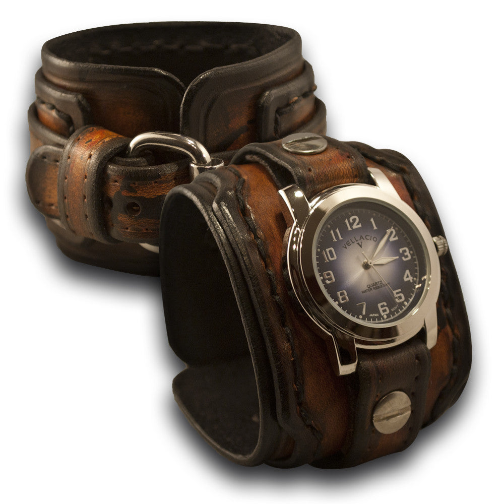 Brown Drake Leather Cuff Watch with Hand Stitched Cuff-Leather Cuff Watches-Rockstar Leatherworks™