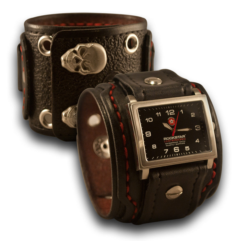Black Drake Leather Cuff Watch - 42mm Stainless, Eyelets & Snaps