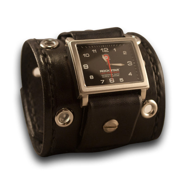 Black Leather Cuff Watch with 42mm Stainless with Eyelets & Skull Snaps