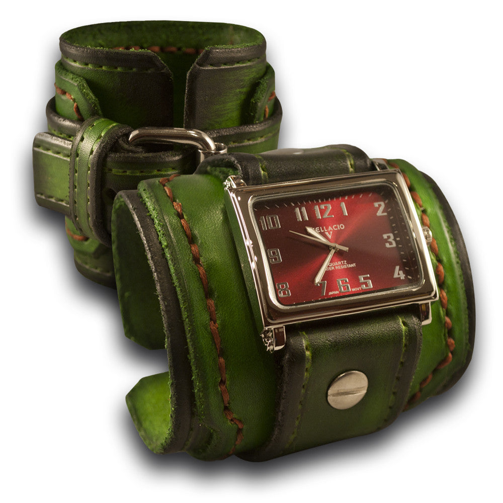 Forest Green Stressed Drake Leather Cuff Watch with Stitching-Leather Cuff Watches-Rockstar Leatherworks™