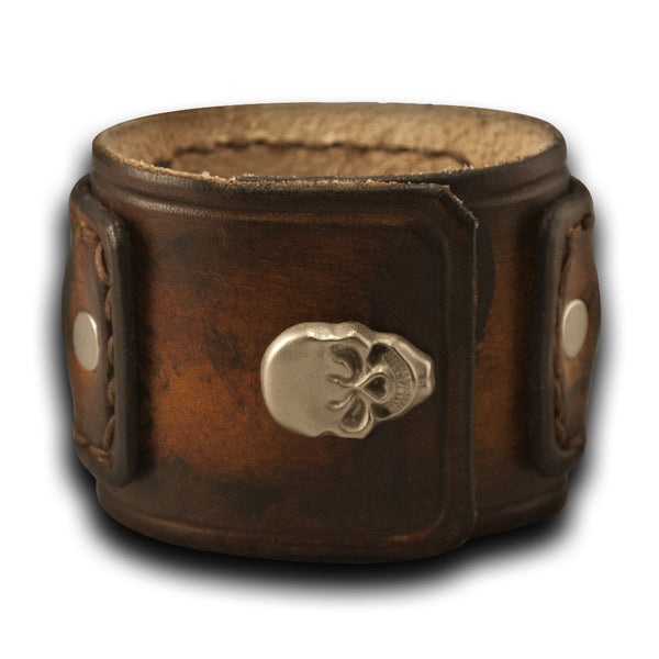 Brown Drake Layered Leather Cuff Watch Stitched with Skull Snap