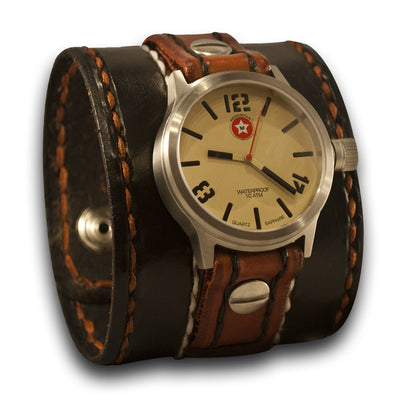 Black & Tan Leather Cuff Watch - 42mm Stainless/Sapphire-Leather Cuff Watches-Rockstar Leatherworks™
