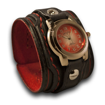 Black & Red Layered Leather Cuff Watch with Red Stitching-Leather Cuff Watches-Rockstar Leatherworks™