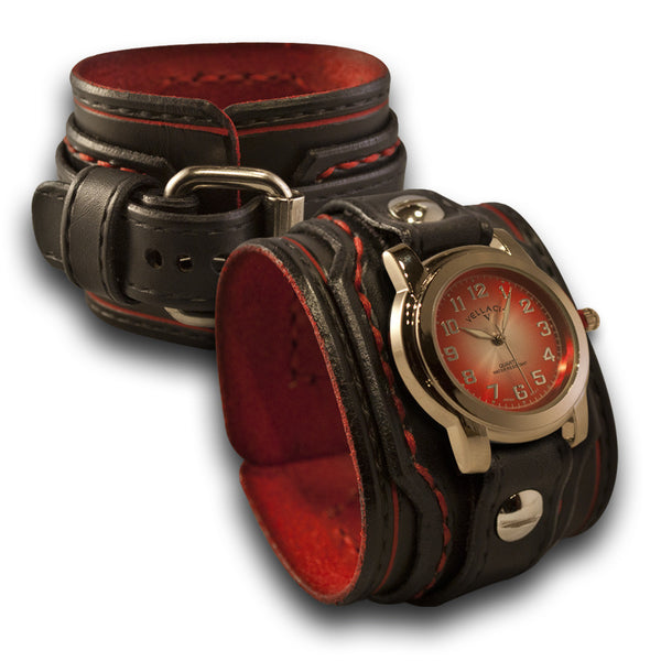 Black & Red Layered Leather Cuff Watch with Red Stitching