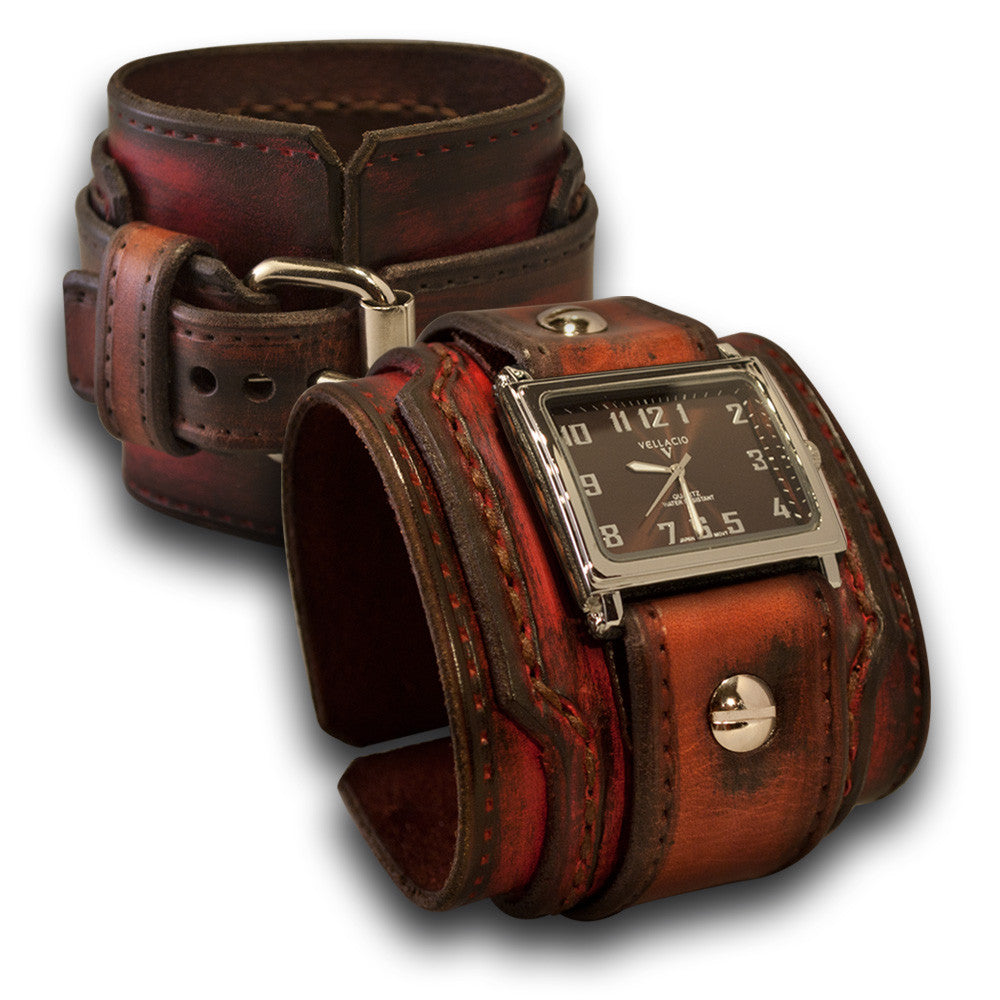Bordeaux & Tan Drake Layered Leather Cuff Watch-Leather Cuff Watches-Rockstar Leatherworks™