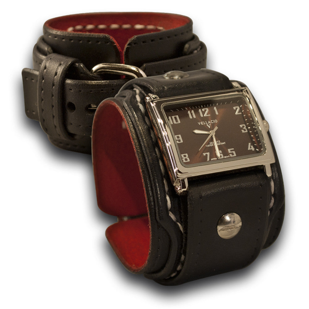 Black Drake Layered Leather Cuff Watch with Stitching & Buckle