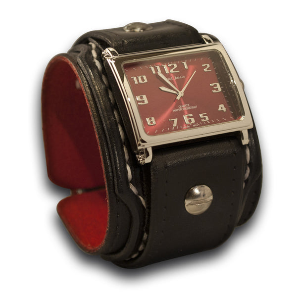Rockstar Drake Layered Leather Cuff Watch with White Stitching & Buckle