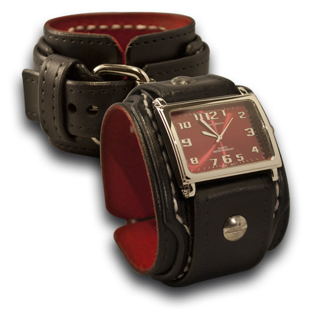 Rockstar Drake Leather Cuff Watch with Stitching & Buckle