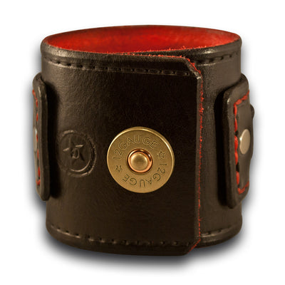Black & Red Drake Leather Cuff Watch Layered & Stitched w/ Snap-Leather Cuff Watches-Rockstar Leatherworks™