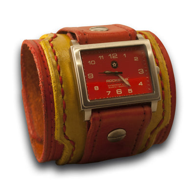 Red & Yellow Leather Drake Cuff Watch - Stainless Sapphire-Leather Cuff Watches-Rockstar Leatherworks™