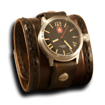 Brown Stressed Leather Cuff Watch with Stainless 42MM Sapphire-Leather Cuff Watches-Rockstar Leatherworks™