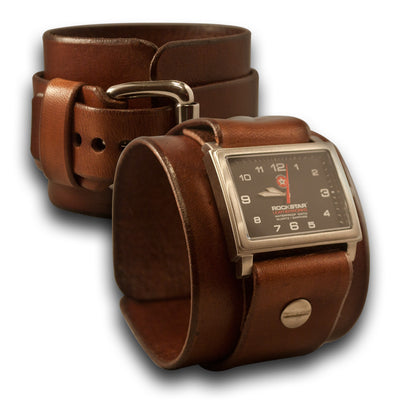 Light Brown Leather Cuff Watch - Stainless 42mm, Sapphire-Leather Cuff Watches-Rockstar Leatherworks™