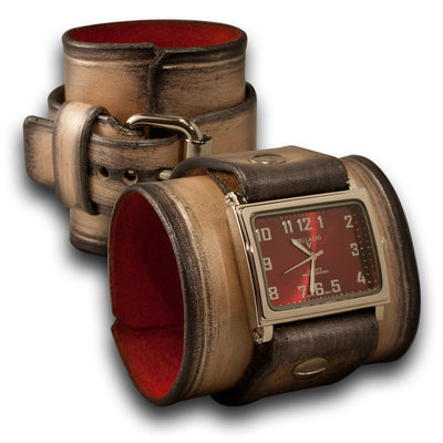 Pearl Stressed Wide Leather Cuff Watch with Red Face-Leather Cuff Watches-Rockstar Leatherworks™
