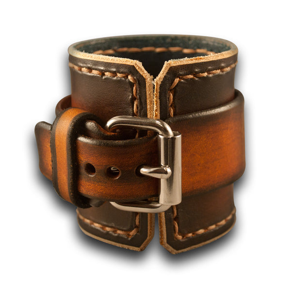 Range Tan Wide Leather Cuff Watch with Stitching and Stainless Buckle