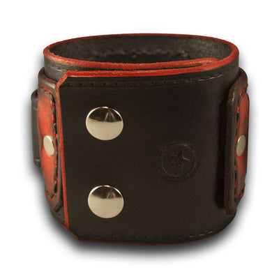 Black & Scarlet Drake Layered Leather Cuff Watch with Snaps